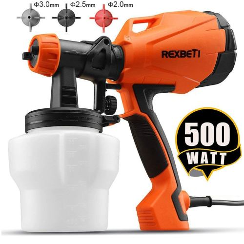 REXBETI Ultimate-750 Paint Sprayer, 500 Watt High Power HVLP Home Electric Spray Gun, 3 Nozzle Sizes, Lightweight, Easy Spraying and Cleaning, Perfect for Beginner - Paint Sprayers