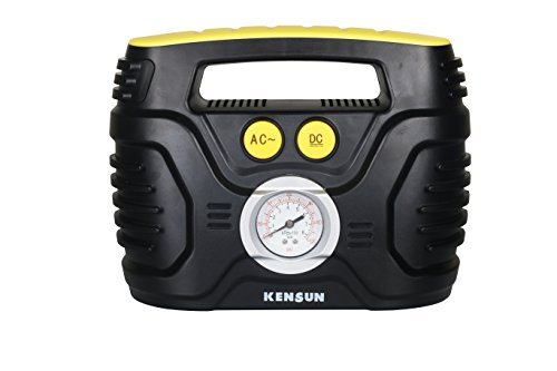 Kensun AC/DC Swift Performance Portable Air Compressor Tire Inflator with Analog Display for Home (110V) and Car (12V) - 18/20 Litres/Min