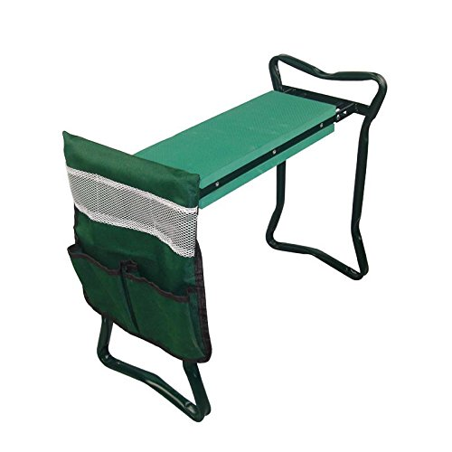 MTB Heavy Duty Folding Garden Kneeler Bench for weeding and Portable Garden Stool Seat With Bonus Tool Pouch, EVA Kneeling Pad - Gardening Stools