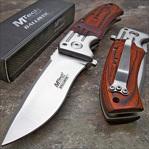 MTECH USA Mtech Ballistic Red Pakkawood Folding Blade Pocket Knife