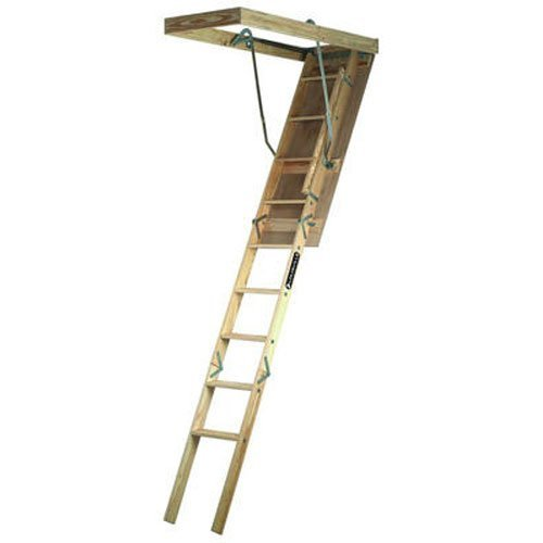 Louisville Ladder 22.5 by 54-Inch Wooden Attic Ladder, 7 Foot To 8-Foot 9-Inch Ceiling Height, 250-Pound Capacity, S224P - Attic Ladders