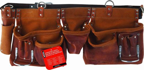 Task Tools T77265 Carpenter's Apron, Oil-Tanned Split with Leather Belt, 12-Pocket