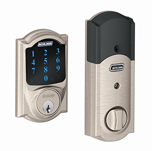 Schlage Lock Company Z-Wave Connect Touchscreen Deadbolt with Built-In Alarm, Satin Nickel, BE469 CAM 619, Works with Alexa via SmartThings, Wink or Iris