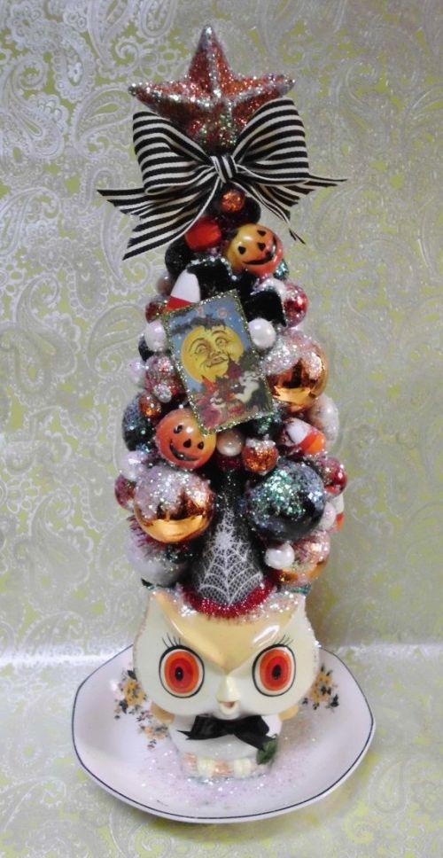 Halloween Ornament Tree, Vintage Owl Planter, Vintage Halloween, Jack O Lantern, Pumpkins, Black Bats, Black Striped Ribbon, MADE TO ORDER
