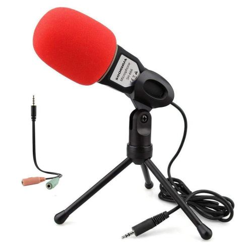 Condenser Microphone,Computer Microphone,SOONHUA 3.5MM Plug&Play Omnidirectional Mic with Desktop Stand for Gaming,YouTube Video,Recording Podcast,Studio,for PC,Laptop,Tablet,Phone
