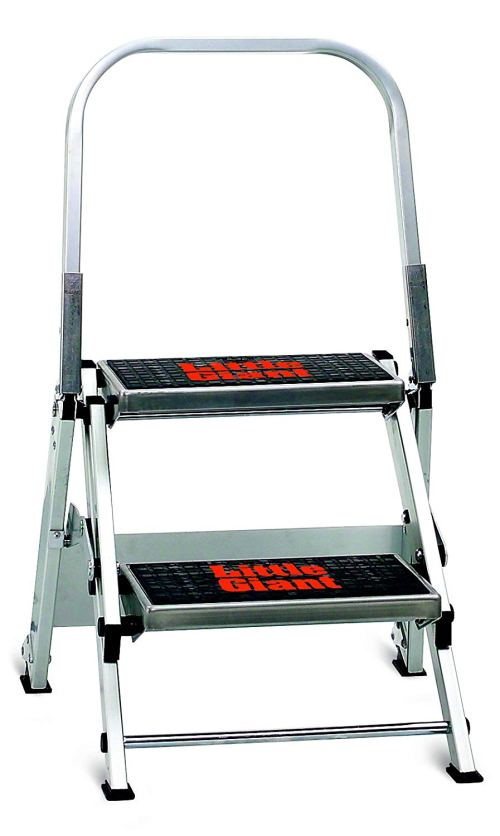Little Giant Ladder Systems 10210BA Safety Step Stepladder with Handrail, 2-Step