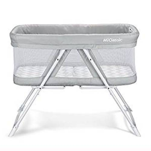 2in1 Rocking Bassinet One-Second Fold Travel Crib Portable Newborn Baby, Gray