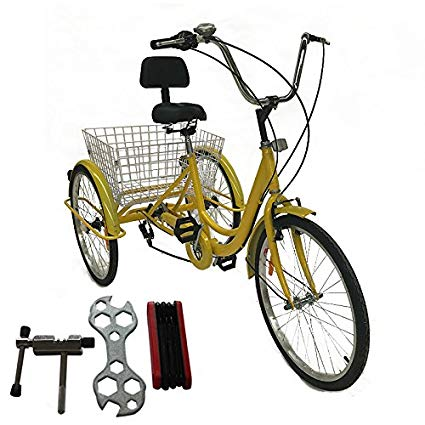 Mophoto 24 Inch adult tricycle 6/7 speed Shimano derailleur 3 wheel trike Cruise