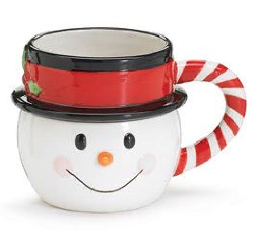 Nippy Noses Snowman Mug Ceramic Christmas Candy Cane