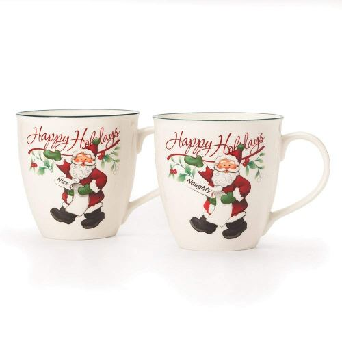 Pfaltzgraff Winterberry Mug Porcelain Naughty And Nice (Set of 2), 20 oz, Assorted - 5159550