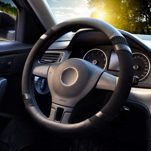 "LucaSng Steering Wheel Cover,13.97""-14.17"" Microfiber Leather Car Vehicle Black,S"