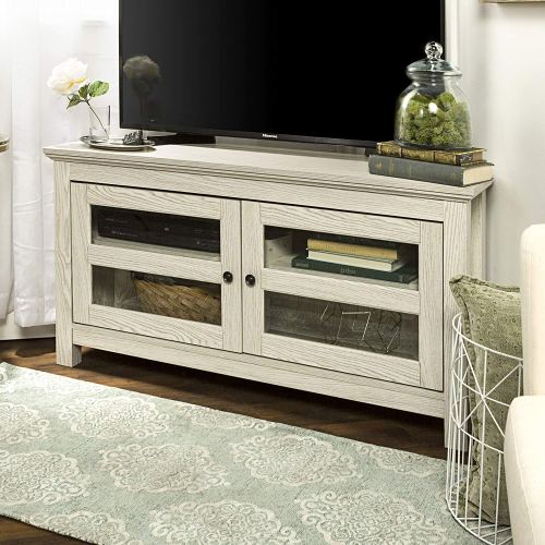 New 44 Inch Wide White Wash Finished Corner Television Stand