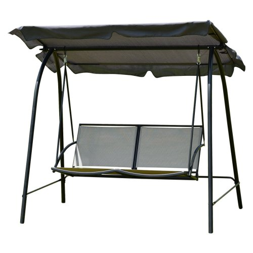 Tangkula 2 Person Patio Swing Glider Outdoor Loveseat Swing Hammock Glider Chair (Grey) - Patio Swings