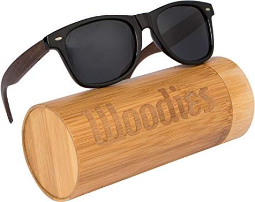 WOODIES Walnut Wood Sunglasses with Polarized Lens in Bamboo Tube Packaging