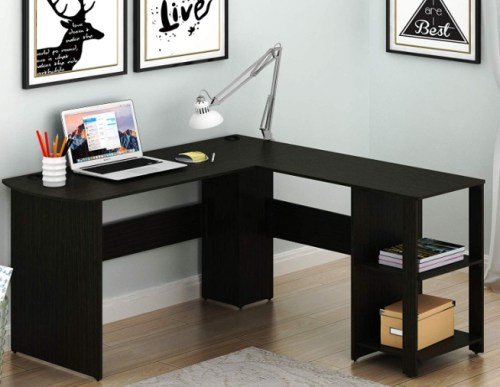 SHW L-Shaped Home Office Corner Desk Wood Top