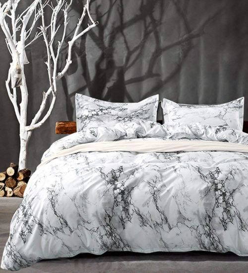 Queen Bedding Duvet Cover Set White Marble