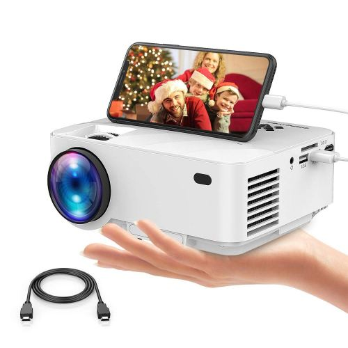 Mini Projector, DBPOWER 2400Lux Synchronizing Smartphone Screen Portable Movie Projector, Video Projector for Home Theater, 1080P/HDMI/VGA/USB/TV Box/Laptop/DVD/External Speaker Supported