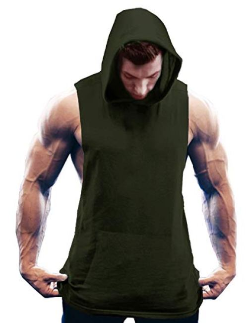 COOFANDY Men's Workout Hooded Tank Tops Bodybuilding Muscle Cut Off T Shirt Sleeveless Gym Hoodies
