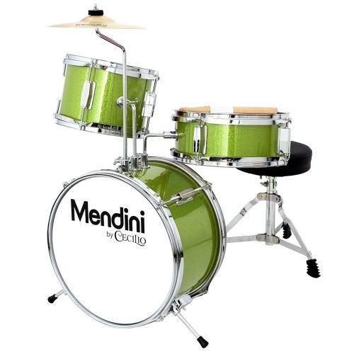 Mendini 3 Drum Set, Metallic Green