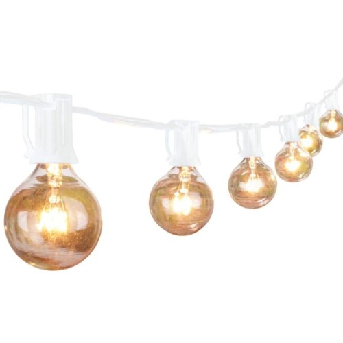 G40 String Lights with 25 Globe Bulbs-UL Listed