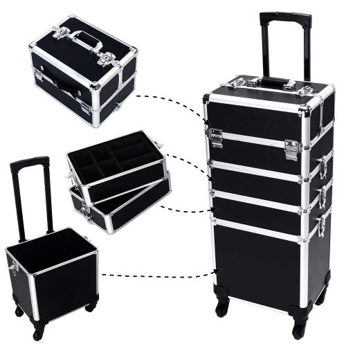 4-in-1 Aluminum Rolling Makeup Train Cases Trolley