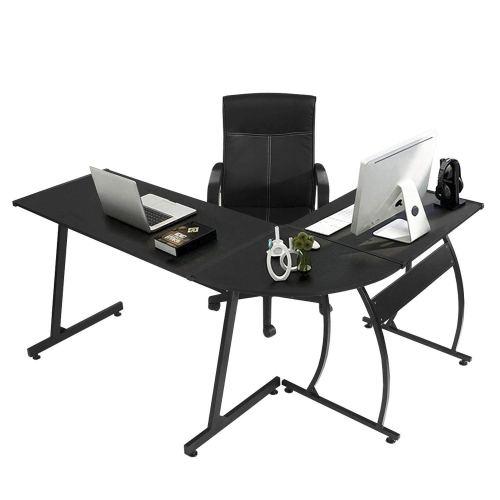 GreenForest L-Shape Corner Computer Office Desk PC Laptop Table Workstation Home Office 3-Piece, Black