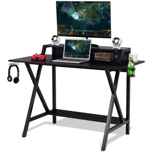 L Shaped Desk Home Office Desk with Round Corner. Coleshome Computer Desk with Large Monitor Stand, PC Table Workstation, Black