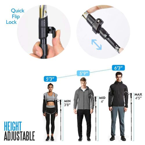 """NIANYISO Hiking Poles Collapsible Lightweight for Height 5'3""""-6'3"""", 2 Pack Adjustable Trekking Poles Aluminum Hiking Walking Sticks Anti Shock Walking Poles with Rubber Tips Handle for Women"""