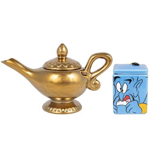 Disney Aladdin Ceramic Sugar and Creamer Set - Genie and Lamp Figural Design