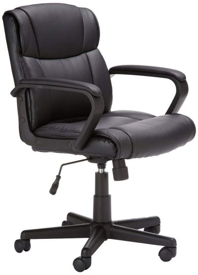 AmazonBasics Classic Leather-Padded Mid-Back Office Desk Chair with Armrest – Black