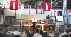 Cocoa-Cola Amatil PNG General Manager Peter Carey addressing guests at the official opening of the CCA Port Moresby Manufacturing Facility opening in May 2012