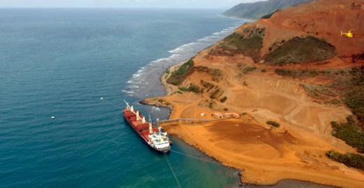 Loading nickel ore for export at Koniambo. Credit: ADECAL