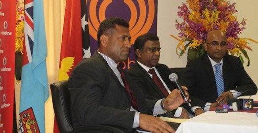 Fiji National Provident Fund CEO Aisake Taito, left, talks to the media after the signing of the Bemobile contract. With him are the FNPF Chairman Ajith Kodagoda and Vodafone Fiji Limited's CEO Pradeep Lal. Credit: FNPF