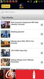 The interface of EMTV's new app for Android devices. An iPhone app is also due shortly.
