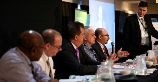 Business Advantage International's Andrew Wilkins discusses equity investment with (from left), University of PNG's Albert Mellam, Nasfund's Andrew McGrath, Kina Securities' Syd Yates, POMSoX's Frank Dunphy and Nambawan Super's Michael Block.