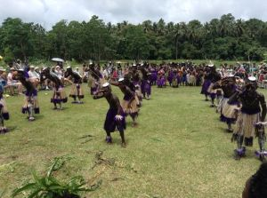 Bougainville dancers welcome adventure tourists from he National Geographic Orion.