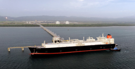 Historic sight: the 'Spirit of Hela' loads up with Papua New Guinea's first ever LNG exports last week. Credit: ExxonMobil