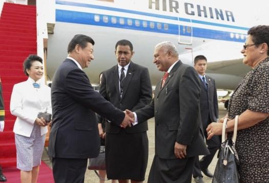 Fiji's Frank Bainimarama welcomes China's Xi Jinping to Fiji.