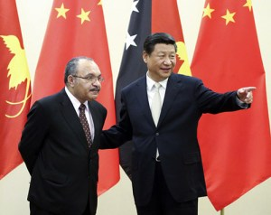 PNG's Peter O'Neill with China's Xi Jinping