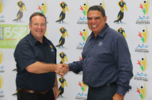 Games Organising Committee CEO, Peter Stewart (l) with NITV commentator, Mark Ella.