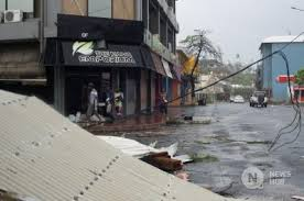 Cyclone damage in the capital, Port Vila. Credit; Reuters