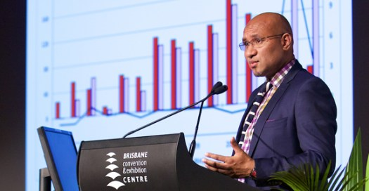 Treasury Secretary Dairi Vele gives his economic update at the 2015 PNG Advantage investment Summit