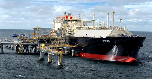The LNG tanker 'Papua' loading at the PNG LNG project's marine terminal. Credit: ExxonMobil/Richard Dellman