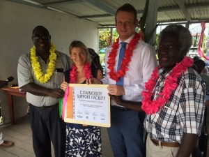 Launching the project. National Coordination Office for Bougainville Affairs' John Avira; NZ diplomat Kathleen Pearce; Australian High Commission's Rod Hilton and ABG Minister for Primary Industries Nicholas Darku.