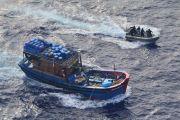 Australian Customs boarding a foreign vessel last weekend. Credit: Border Force