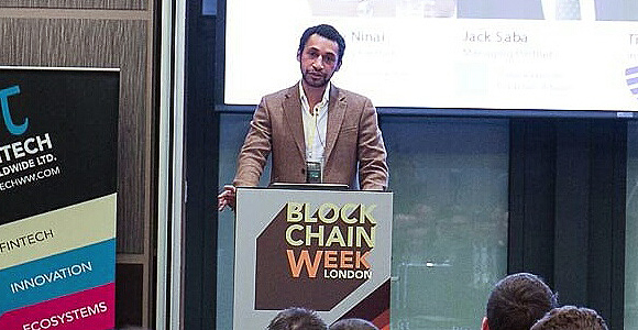 Day One Investments' Shane Ninai addresses a block chain event in London earlier this year.