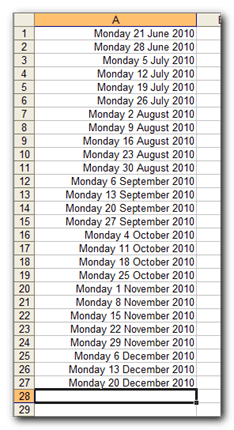 Release the Auto Fill handle. Excel has created a list of dates all seven days apart - Use Auto Fill with Dates
