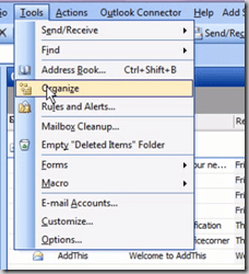 Click Organize in the Tools menu - Format all messages from a sender in a different colour – automatically – in Outlook