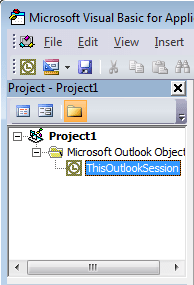 A screen capture of the Outlook VBA Project Explorer Window where ThisOutlookSession is selected