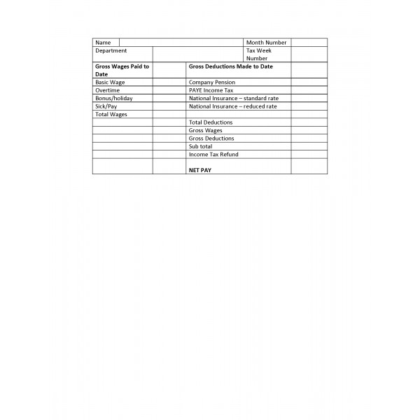Wage Template sample slip 8 free documents download in word pdf – Wages Slip